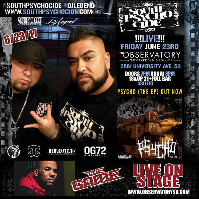 South Psycho Cide live in concert with The Game